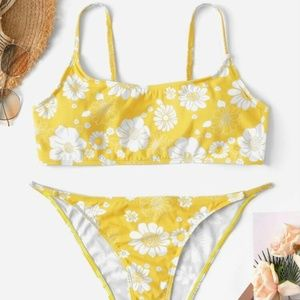 Yellow White Flower Print Bikini Set